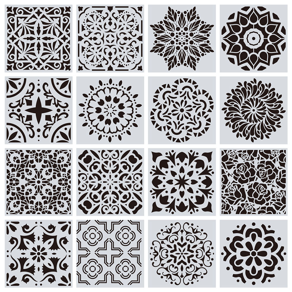 New Design 16 Types Mandala Stencil Home Wall Painting DIY Template Laser Craft 15x15cm Decoration
