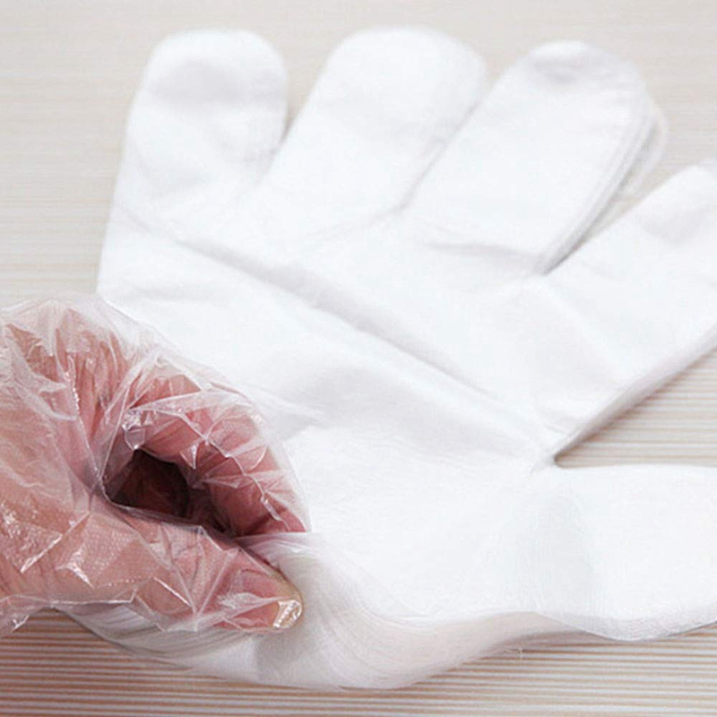Disposable PE Gloves, Non-Sterile, Powder-Free, Smooth Touch, Food Service Grade, for Cleaning, Food Handling, Hairdressing, Par