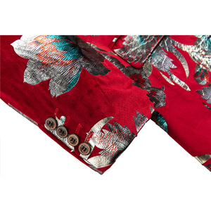 Image 5 - Shenrun Men Red Blazer Jacket Fashion Slim Fit High Quality Casual Blazers Groom Jackets Host Singer Stage Dress M 6XL Plus Size