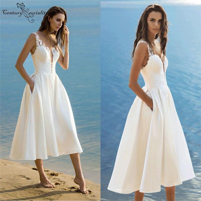 Hi Lo Short Wedding Dresses With Pockets Lace Appliques Zipper Tea