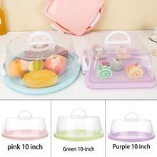 8 inç/10 inç taşınabilir plastik yuvarlak pasta kutusu tatlı konteyner kutusu kek taşıyıcı sunucu saklama kutusu tepsi mutfak gereçleri