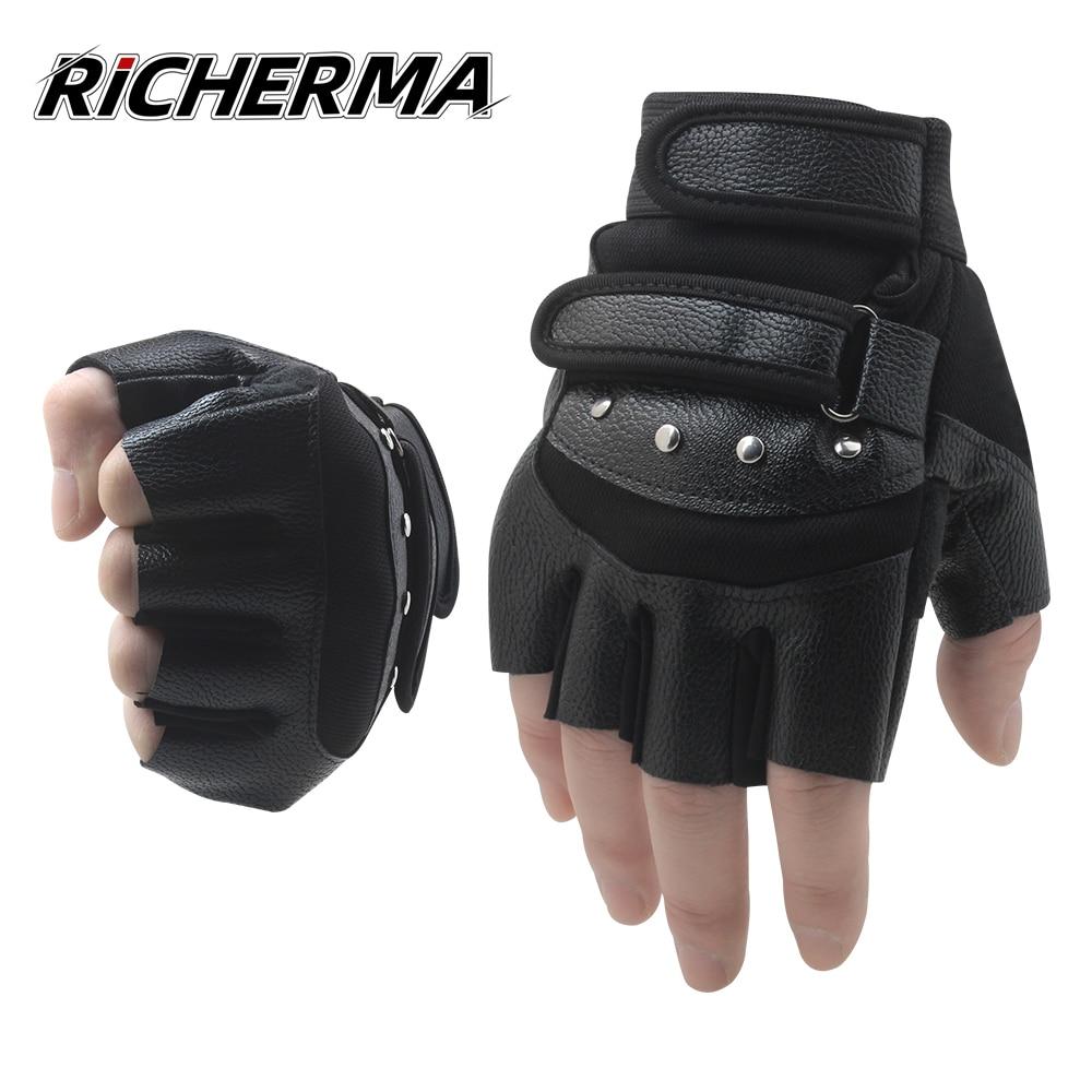 Guantes sin dedos de cuero motocicleta conducción PU Guantes hombres muje/_ks