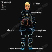Halloween LED Suits Light Up Dance Wear DJ Dance Luminous Talent Show Mask Top Pants Gloves Shoes 7pcs Party Costumes Men/ Wome