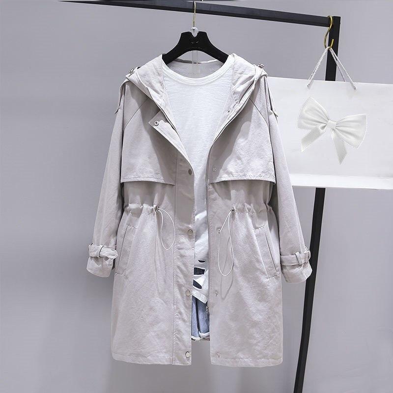 Fashion   Trench   Coat Hooded Women Slim Mujer Windbreaker Women Casual Plus Size Outwear