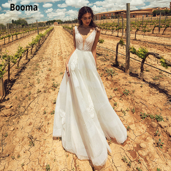 Booma Elegant Princess Wedding Dresses Lace Appliques Bridal Gown Plus Size V-neck Beach Boho Tulle Wedding Gown Custom Made wedding dresses boho sexy backless soft tulle lace beach bridal dress custom made a line wedding gown plus size custom made