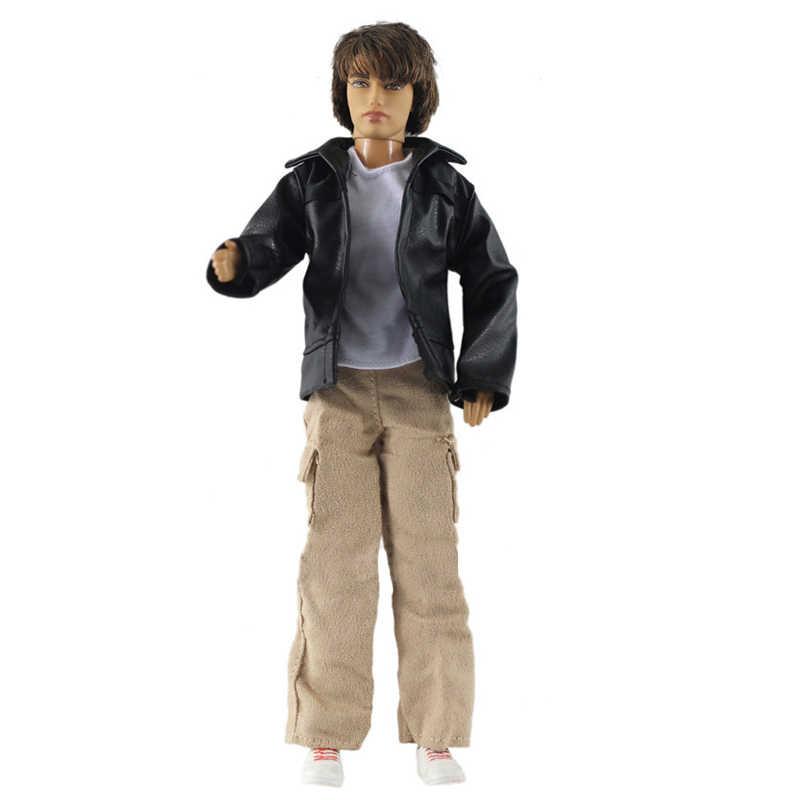 1 Juego de camisetas blancas y pantalones largos pantalones y trajes de abrigo de moda negro ropa para Ken Boy muñeca masculina ropa para muñeca de juguete