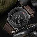 Лидирующий бренд Мужские кварцевые часы цифровые военные спортивные часы с подсчетом шагов роскошные кожаные водонепроницаемые деловые ч...