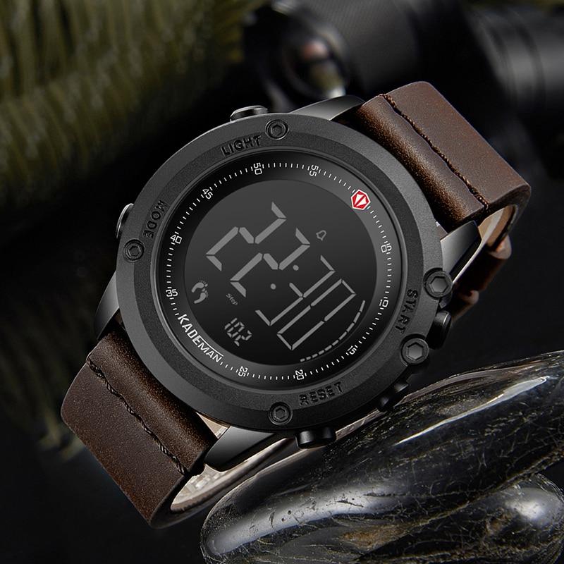 Top Brand Men Quartz Watch Watch Digital Military Sports Step Count Clock Luxury Leather Waterproof Business Relogio Masculino