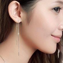 S925 srebro kolczyki z bohimia długie proste pomponem hipoalergiczna biżuteria dla kobiet urodziny prezent hurtownie