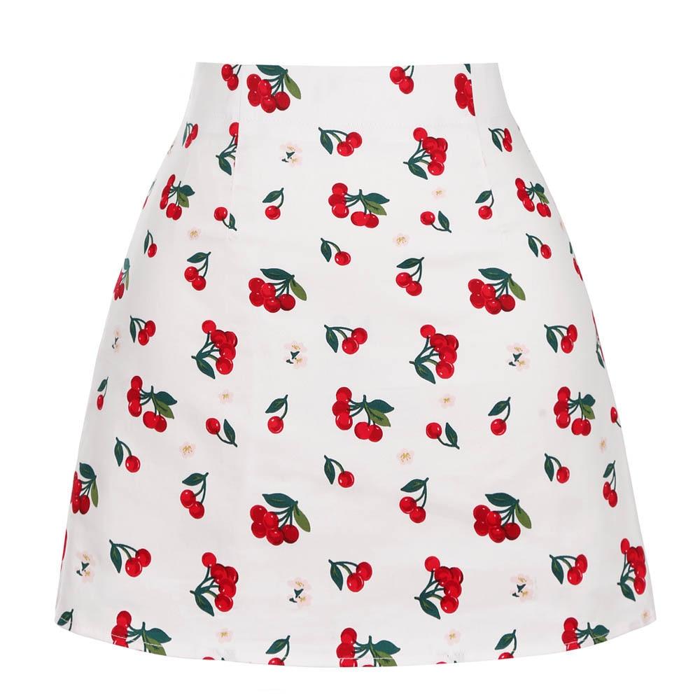 High Waist Mini Skirt Cotton Retro Vintage Cherry A Line Womens Casual Holiday Beach Summer Skirt Cotton SS0008