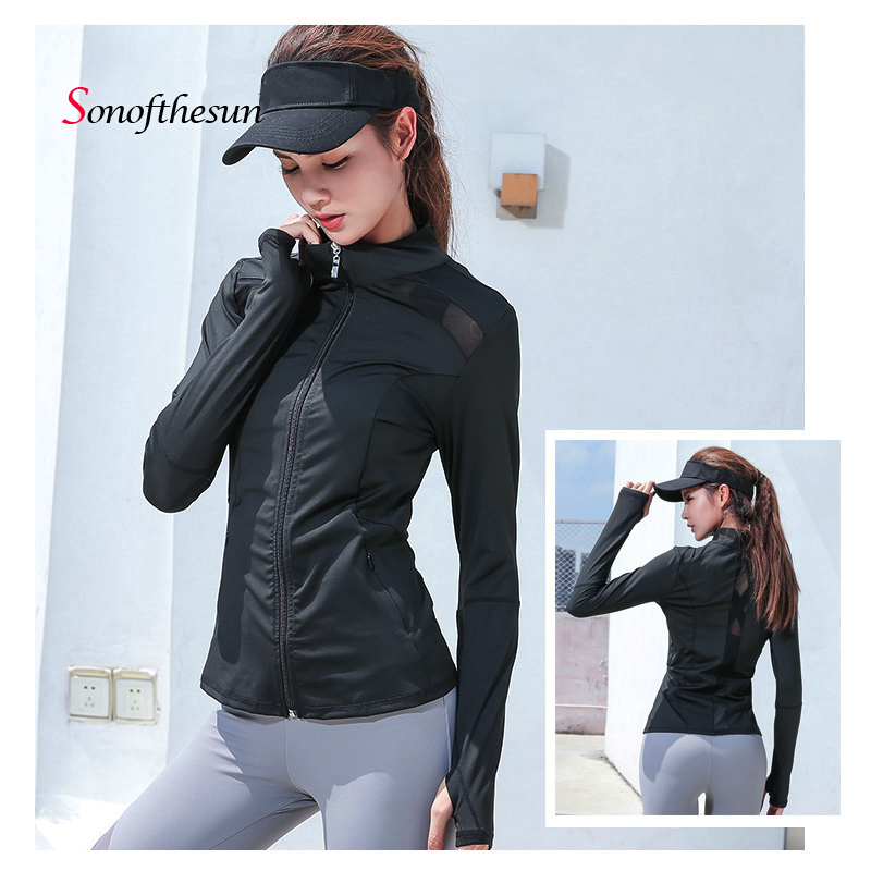 Womens Long Sleeve Sports Running Jacket Net Yarn Splicing Yoga Gym Fitness Tight Tops Quick Dry Breathable Sports Coat-in Running Jackets from Sports & Entertainment on AliExpress