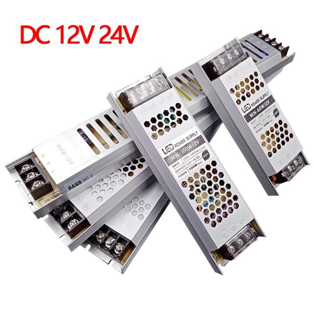אולטרה דק LED אספקת חשמל DC 12V 24V 60W 100W 150W 200W 300W שנאי תאורת AC 190 240V LED נהג LED רצועת מעבדה
