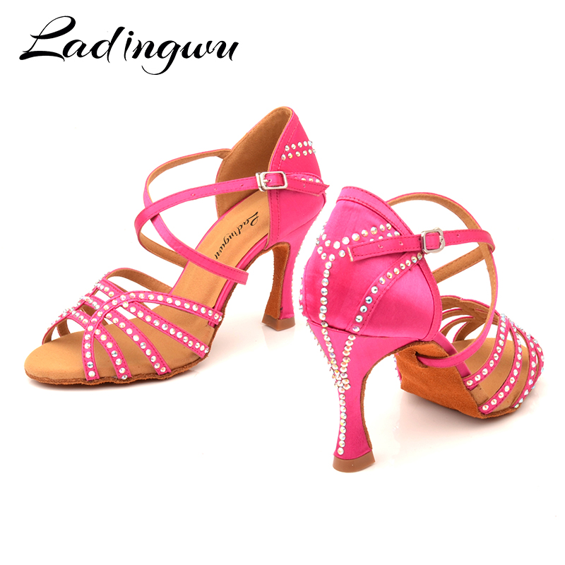 Ladingwu Pink Red Shoes Wonan  Satin Latin Dance Shoes Salsa Red Pomegranate Rhinestones Soft Bottom Ballroom Dance Shoes