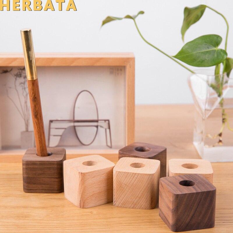 Creative Wooden Pen Holder Office Desktop Storage Ornaments Minimalist Furnishings Office Supplies Multifunction Storage Box