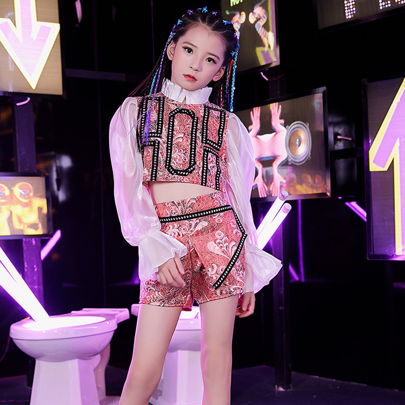 Girls Hip Hop Dance Rose Red Costume Children Street Dance Performance Clothing Kids HipHop Dance Long Sleeve Stage Wear DQL2468