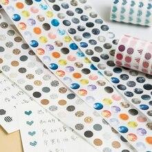 1250 pz/rotolo colorato luna Morandi puntini Washi Tape adesivi rotondi Dot adesivi per diario decorativo fai da te Scrapbooking, 60mm x 3m