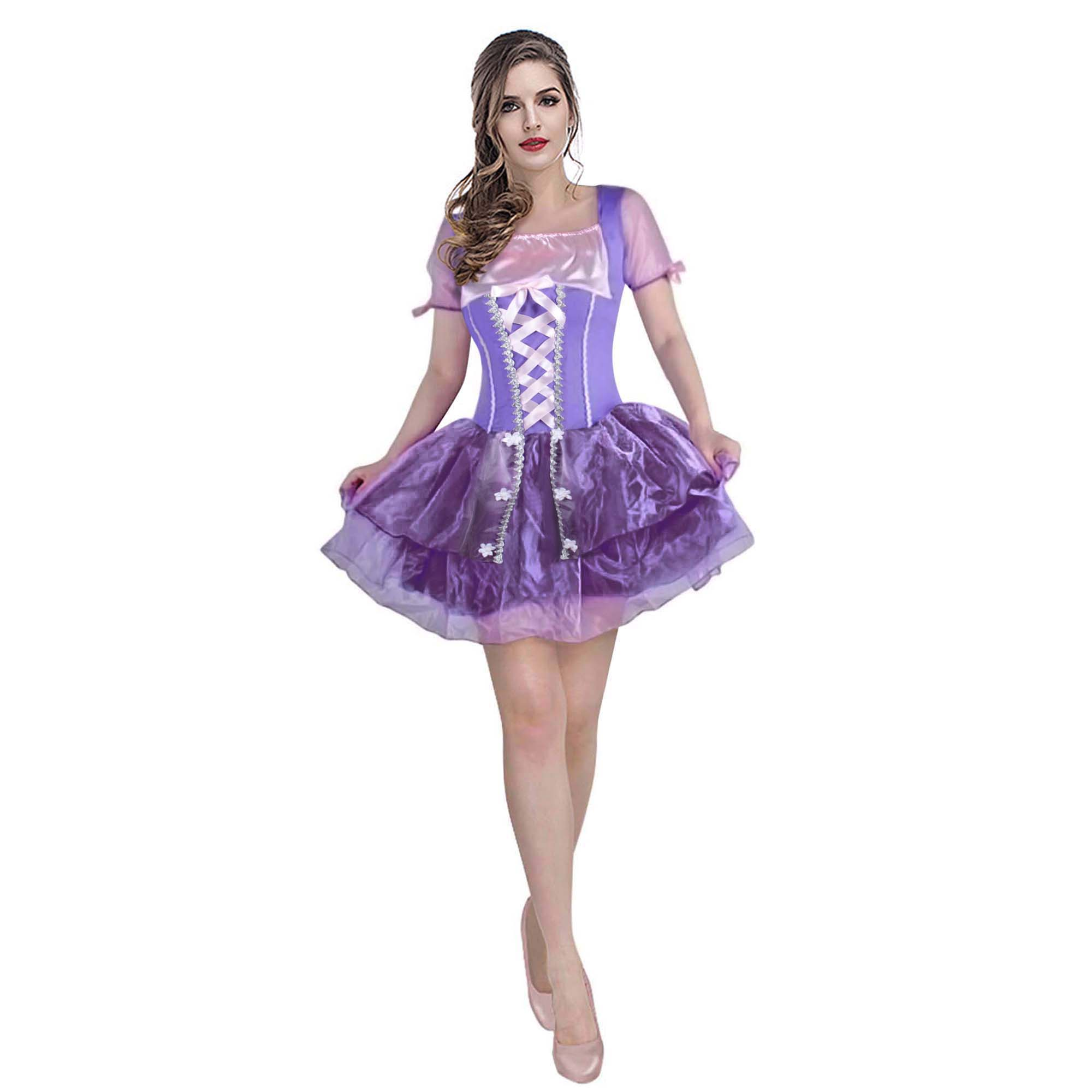 Women's Pricess Rapunzel Costume Tangled Cosplay Purple Tulle Short Tutu Dress Fairytale Costume Carnival Halloween Fancy Dress