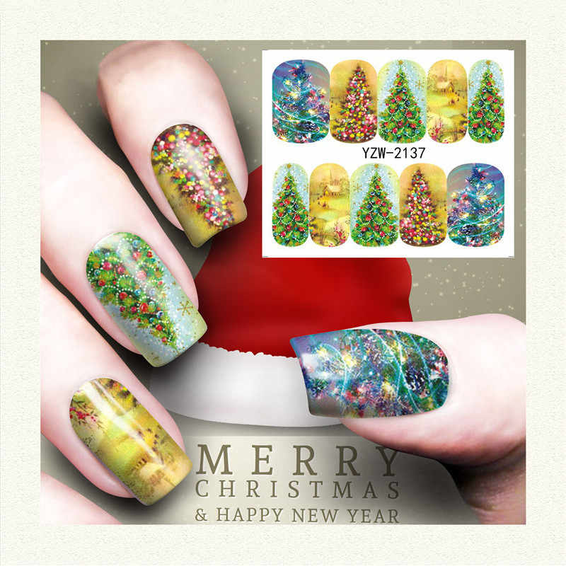 1 PC Beauty Christmas Tree Santa Claus Nail Art Water Decals Pink Snowflake Snowman Transfer Stickers