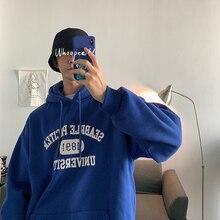 Plus Hooded Hoodies Men Warm Fashion Letter Printing Solid Color Casual Pullover Man Streetwear Hip Hop Loose Sweatshirt