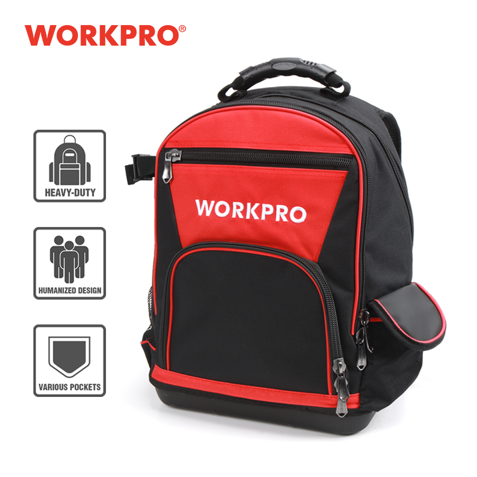 WORKPRO New Tool Backpack Tradesman Organizer Bag Waterproof Tool Bags Multifunction Knapsack 17'' Toolbag