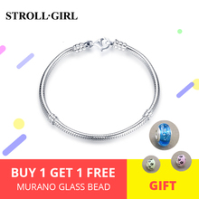 цена на Strollgirl 100% 925 sterling silver snake chain original charm bracelet luxury fashion jewelry making woman gift free shipping