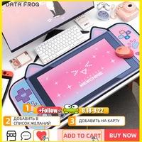 DATA FROG-alfombrilla grande para ratón y teclado de ordenador, alfombrilla para jugador de escritorio, accesorios de dibujos animados Kawaii, color rosa, Oreja de Gato