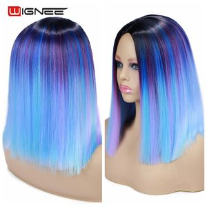 Image 3 - Wignee pelucas sintéticas de pelo liso corto, mezcla de morado/azul, peluca arcoíris negra Natural, Cosplay sin pegamento, pelucas para uso diario