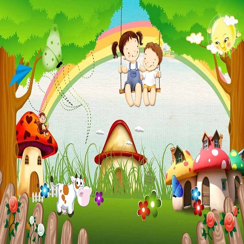 Custom Large Mural 3D Wallpaper Cartoon Animal Cute Mushroom House Farm Bedroom Mural TV Back Wall Decor Deep 5D Embossed