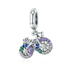 Authentic 925 Sterling Silver Bicycle Charm Bead Color Zircon CZ fit European Beads Charms Bracelets Jewelry(China)