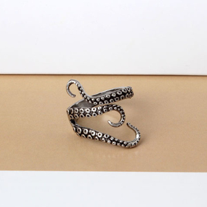 2020 New Fashion Men Rings Silver Color Color Alloy Steel Vintage Octopus Style Irregular Pattern Trendy Accessories,1 PC