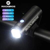 ROCKBROS luce per bici antipioggia luce anteriore per bicicletta ricarica USB 400LM faro per ciclismo LED 2000mAh torcia accessori bici