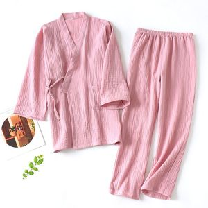Image 1 - New Japanese Pajamas Set Women Full Cotton Kimono Tops&Pants Suit Couples Sleepwear Set Women Men Casual Homewear