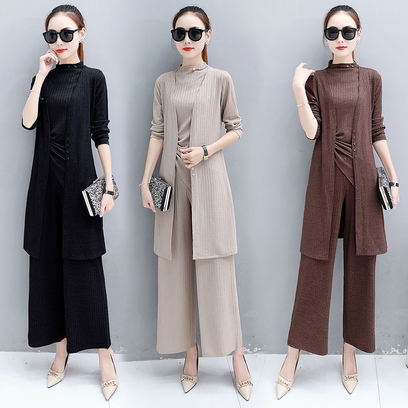 Ozhouzhan 2018 Women's Slim Fit Slimming Elegant Three-piece Set Fashion Autumn Clothing Long Sleeve New Style WOMEN'S Dress Loo