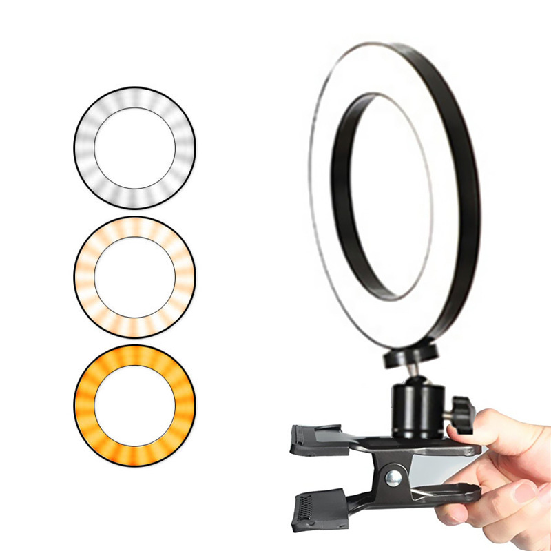cheapest Selfie Ring Light 360-degree Rotatable Ball Head Stabilizer Dimmable USB Ring Light for Photography Streaming with Remote Contro