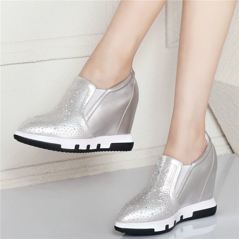 Wedding Shoes Women Cow Leather Wedges Platform Rhinestones Party Pumps Slip On High Heel Pointed Toe Oxfords Shoes Casual Shoes