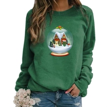 Merry Christmas Cartoon Print Hoodies For Women Long Sleeve Round Neck Women's Sweatshirt Casual Plus Size 5XL Tops Kawaii Cute plus size merry christmas skew collar sweatshirt