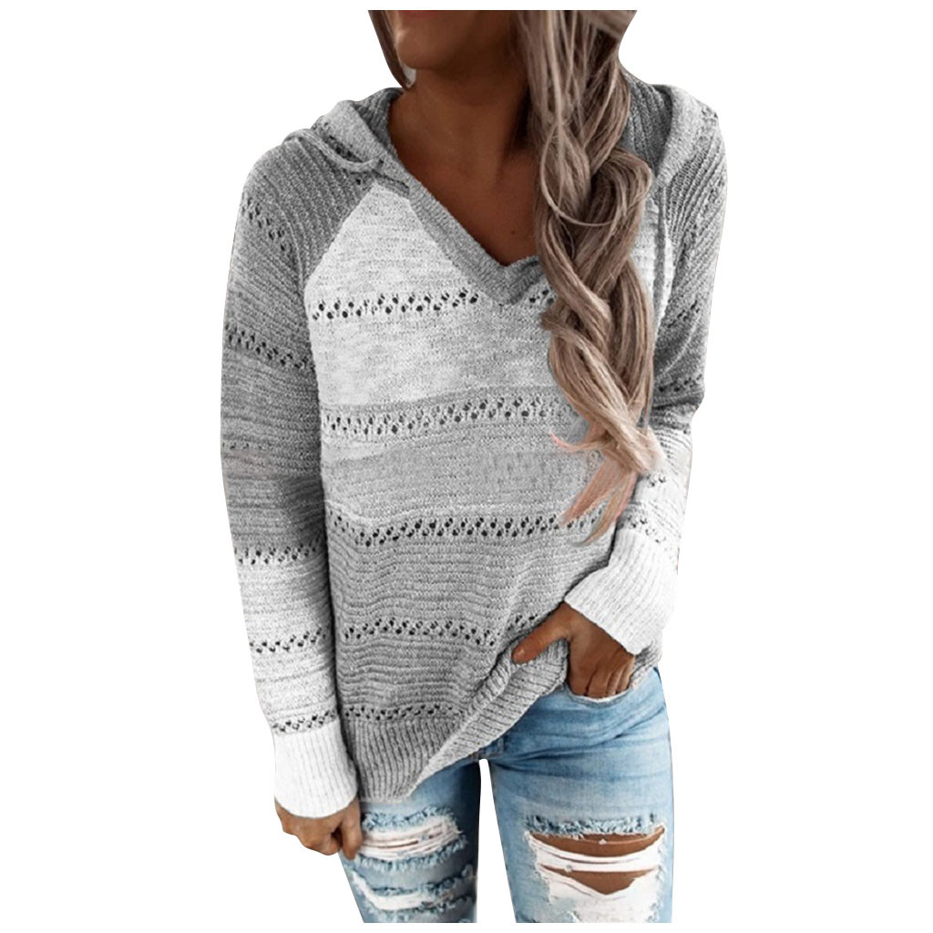 Fashion Women Casual Patchwork V Neck Long Sleeves Hooded Sweater Blouse Tops Plus Size свитер женский #W