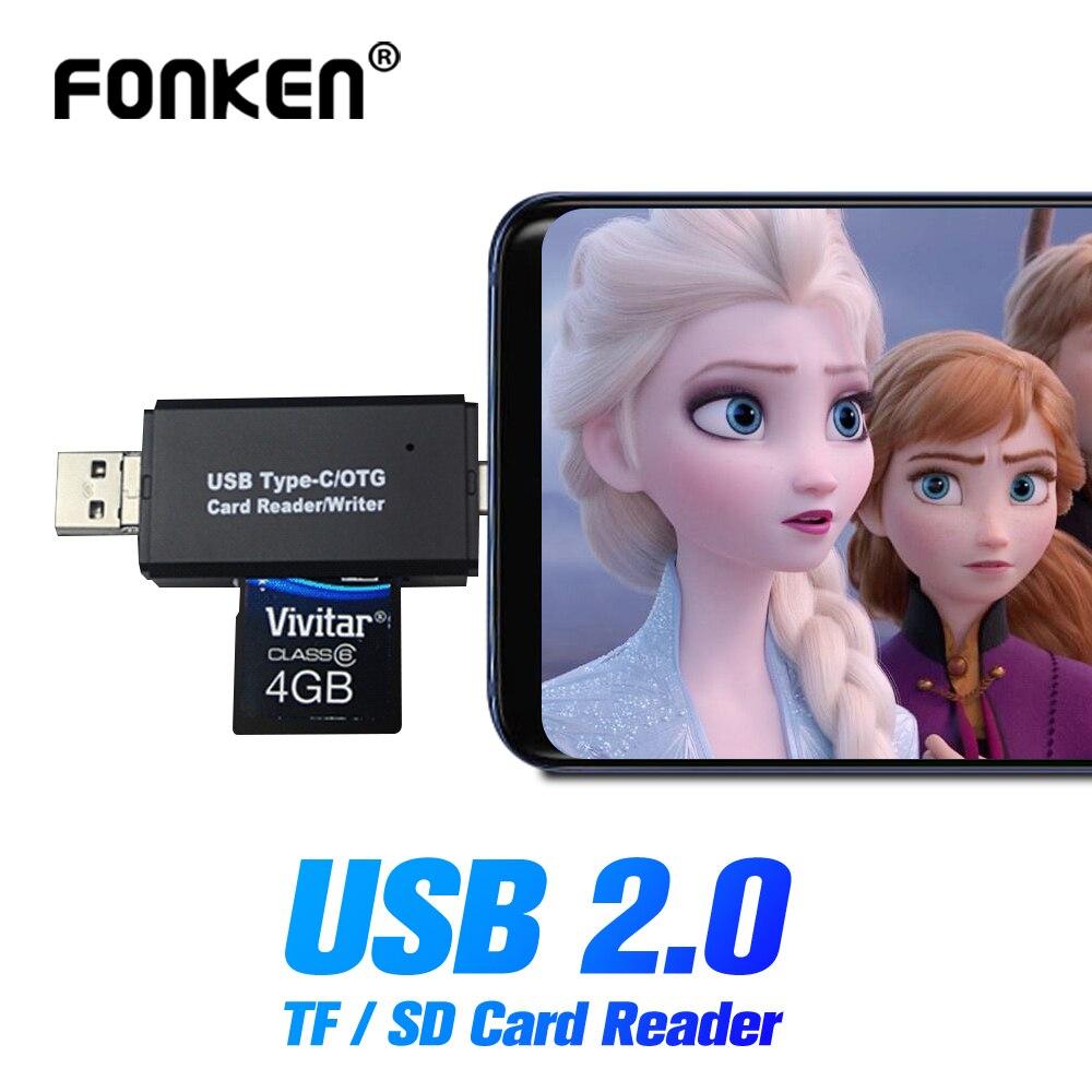 FONKEN 5in1 Card Reader USB OTG Adapter TF SD Card Reader PC Phone Memory Card Reader 4 In 1 Tablet Storage Card Mini Cardreader