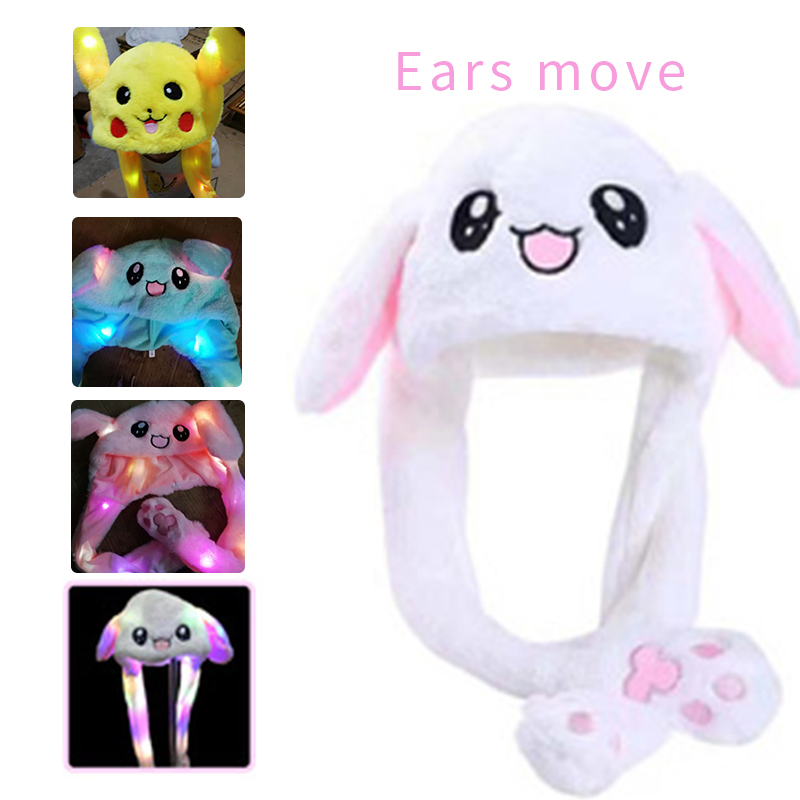 Funny Hat Women Men Kids Lighting Hat Cute Rabbit Ears Plush Ears Can Move Cap Children Shine Winter Warm Party Hat ~