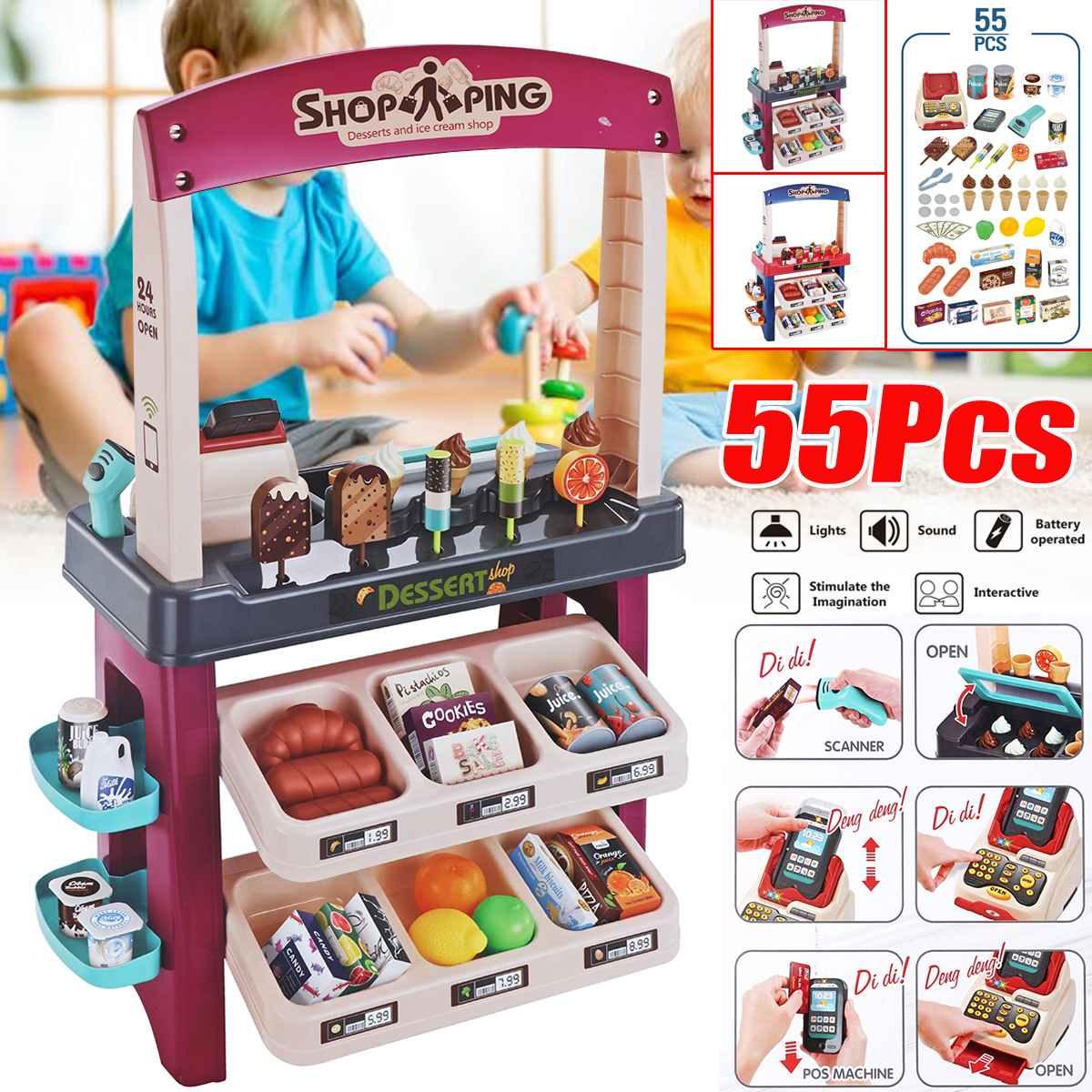 Kids Store Supermarket Shopping Toy Cash Register Ice Cream Food Play Set Shop Toys for Children Girls Games