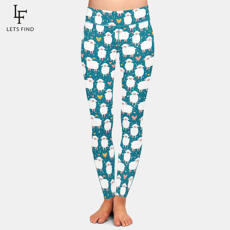 LETSFIND New Arrival 3D Cute Sheep Digital Print Womens Plus Size Fashions Leggings High Waist Fitness Elastic Leggings