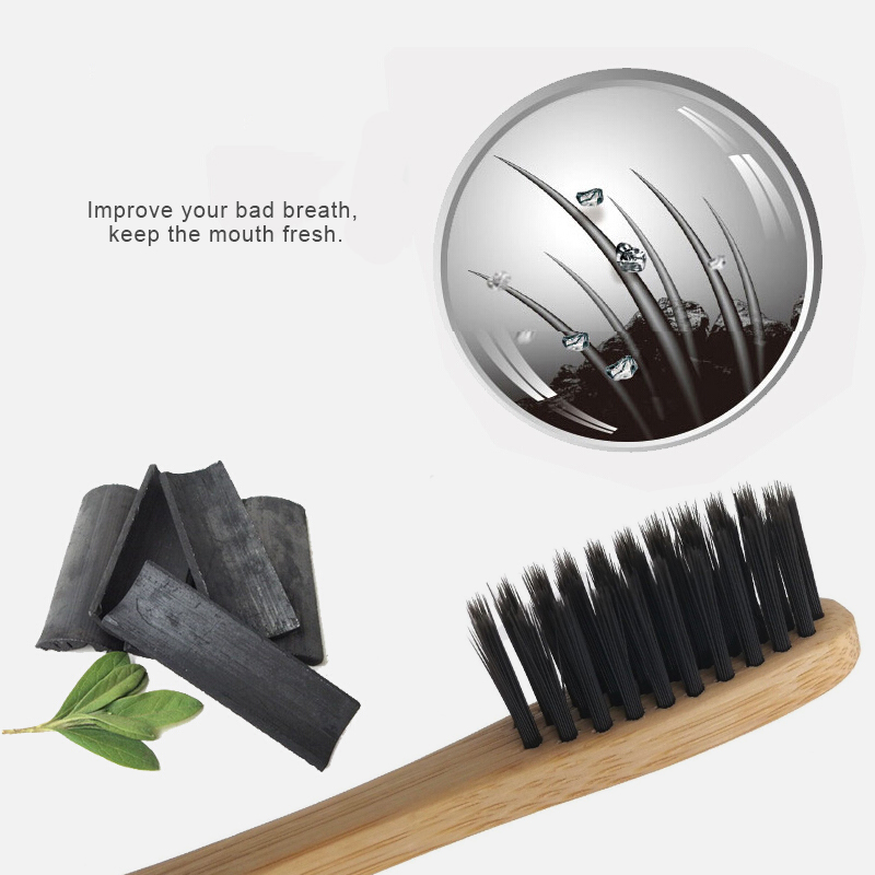 1PC Environmental Bamboo Charcoal Health Toothbrush For Oral Care Teeth Cleaning Eco Medium Soft Bristle Brushes Oral Cleaning