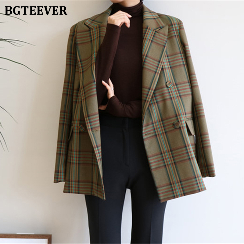 BGTEEVER Vintage Double-breasted Loose  Women Jacket Blazer Elegant Plaid Women Suit Coat Female Outerwear Blaser Femininas 2019