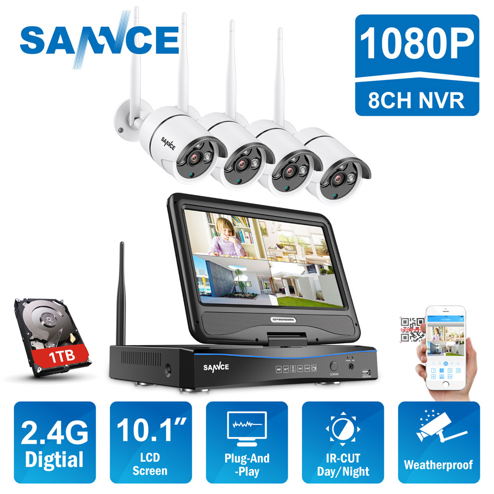 SANNCE 8CH HD Wireless CCTV System 10.1 LCD Displayer 1080P 2.4G Wifi NVR HD Outdoor IR CUT IP Camera Home Security System