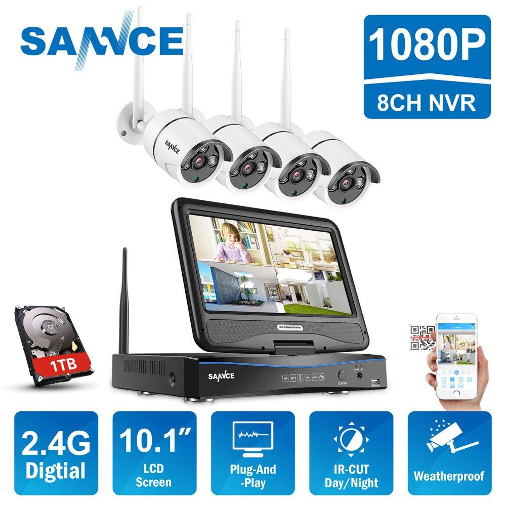 Sannce 8ch hd sistema de cctv sem fio 10.1 lcd displayer 1080 p 2.4g wifi nvr hd ao ar livre ir cortar câmera ip sistema de segurança em casa