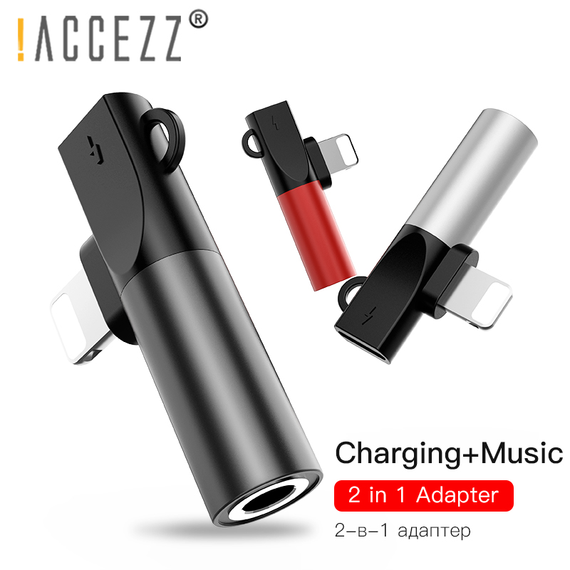 !ACCEZZ Lighting <font><b>Adapter</b></font> For <font><b>iPhone</b></font> XR XS Max X 8 7 Plus Splitter to 3.5 mm <font><b>Jack</b></font> For Earphone Audio Aux Connector OTG <font><b>Adapter</b></font> image