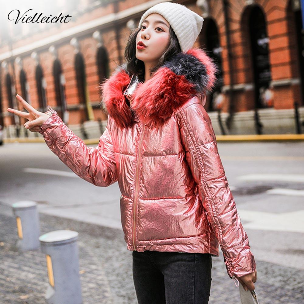 Vellieicht 2019 Glossy Down Cotton   Parka   Winter Women Jacket Fur Hooded Winter Warm Thick Short   Parka   Winter Coat Jacket Women