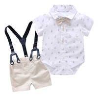 Conjunto de ropa de niño para recién nacido, traje Formal con dibujo de lazo para niño pequeño, monos para niño pequeño, pelele para niño, trajes de nuevo Mono