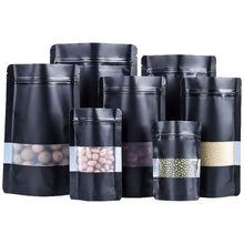 100Pcs/lot Black Mylar Foil Zip Lock Stand Up Self Sealable Package Bag Zipper Clear Window Storage Bag Bean Grains Dried Food