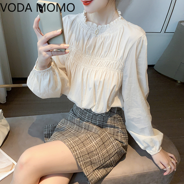 Lantern Sleeve Elegant Shirt White Sexy  Vintage Blouse O Collar Office Ladies blouse for women blusas womens tops and blouses 4